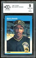 1987 Fleer #604 Barry Bonds Rookie Card Rookie Card BGS BCCG 9 Near Mint+