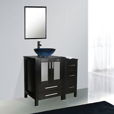 "Bathroom 36"" Black Vanity Vessel Small Cabinet Sink Faucet Mirror Table Combo"
