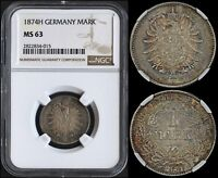 GERMAN EMPIRE 1 MARK 1874-H (NGC MS63) *RARE DATE & NICELY TONED*