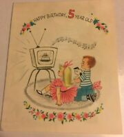 Vintage Happy Birthday Wishes Greeting Card 5 Year Old Watching TV Boy Girl Dog