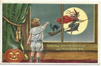 Vintage Halloween Embossed Postcard Black Cat Witch Moon JOL Strange Sights