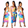 Women sleeveless Tie Dye print casual club party bodycon midi dress skirts set