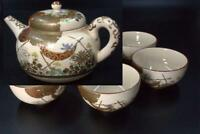 Japanese Antique Kutani Tea Pot & Five cups Meiji period KW15