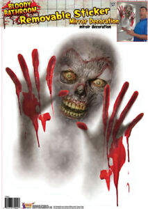 Bloody Horror Bathroom-ZOMBIE MIRROR CLING-Window Sticker Halloween Decoration