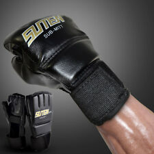 MMA UFC PU Leather Boxing Gloves Sparring Kick Thai Gym Punching Bag Half Mitt