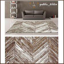 Lodge Cabin Area Rug Unique Herringbone Wooden Slats Beige Brown Rustic Carpet