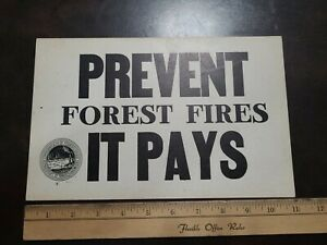 New Old Stock Unused 1940s Pa State Forest Fire Warden Notice Sign