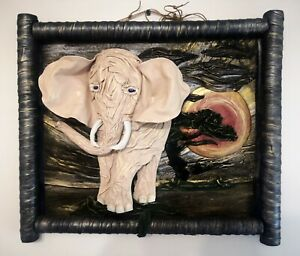 Pink elephant modern 3D picture from genuine leather, fully handmade. wall decor