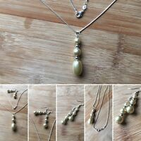 Beautiful Handmade Cream Faux Pearl Pendant and 925 Silver Necklace Gift For her