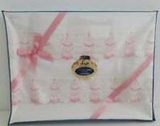 Schiffli Embroidered Bed Linens Vintage Pillow Cases Pink 50s Bedding Boxed New