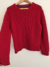 Joules Red Cable Heavy Fluffy Knit Winter Jumper Relaxed Slouch M / UK 14-16
