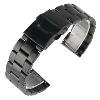 20/22mm Silver Black Stainless Steel Wrist Band Men Watch Replacement Solid Link