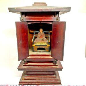 KUKAI Buddha statue with Zushi box Edo Japanese wood carving Old Japan antique