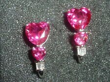 10K SOLID WHITE GOLD RUBY HEART DROP CLEAR STONE ACCENTED POST EARRINGS