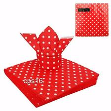 20 x Red and White Polka Dot Party Napkins...50's...Rock n Roll Diner...Fifties