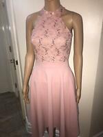 QUIZ Blush Pink Sequin Lace High Neck Midi Dress, SZS 8-18