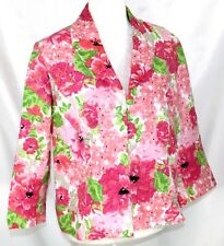 Kim Rogers Women's PL Thin Lined Pink Floral 3/4 Sleeve Hook Front Linen Jacket