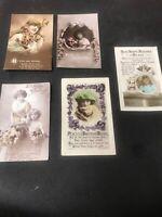 Postcard Greetings Birthday Pretty Victorian Dressed Ladies Lot Of 5 G01