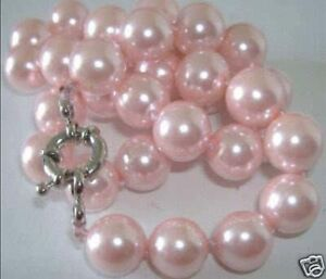 25'' Beautiful 8mm Round Pink South Sea Shell Pearl Necklace PN209
