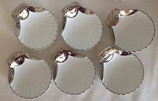 VINTAGE ROYAL WORCESTER GOLD LUSTRE SET 6 SCALLOP DISHES IN FAB CONDITION