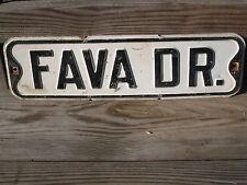 "Mid-century FAVA DR. #3 metal vintage antique street sign black & white 20""x6"""