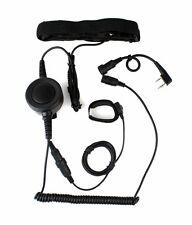 2 Pin Heavy Duty PTT Throat/Forehead Vibration MIC Earpiece for KENWOOD Radios