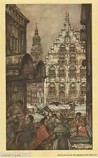 Anton Pieck Gouda Market Print 1971 printed in Holland