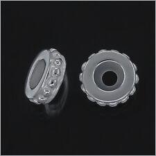 1PC Sterling Silver Rubber European Bracelet Stopper Spacer Bead 9mm #97147