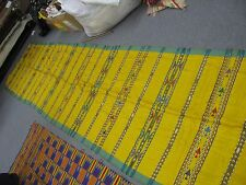 """Vintage Silk Ikat Textile Tapestry Shawl 36"""" x 180"""" handmade Excellent Yellow"""