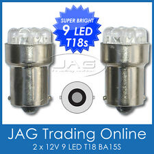 PAIR 12V 9-LED BA15S T18 WHITE GLOBES - Automotive Reverse/Indicator Light Bulbs