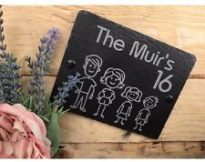 Personalised Modern Engraved Slate Present House Stick Family Name Gift Plaque