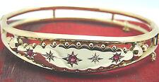 Antik Diamant Rubin Goldarmreif 375 Gold 13,9 Gramm Rotgold Armreif Roségold