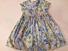 RARE Girl's BABY LULU Blue & Green HAWAIIAN Floral PARTY Portrait Dress 6 6X