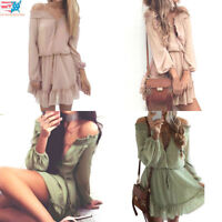 Women Sexy Casual Chiffon Slash Neck Bohemian Knee Length Solid Dress US Stock