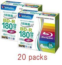 Verbatim BD-R 25Gb 6x Printable Blu-ray Disc 20 Pack Blank Disc Inkjet japan