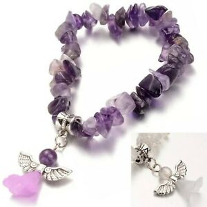 Crystal Gemstone Chip Bead Bracelet Chakra Angel Jewellery Gift Girls Anxiety UK