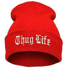 """""""Thug Life""""  EMBROIDERED CUFFED BEANIE Red / White SKULL CAP Free Shipping"""