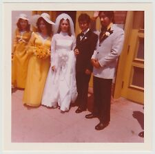 Square Vintage 70s PHOTO Latin Wedding Couple Bride Groom & Best Man Bridesmaids