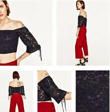 NEW WITH TAGS ZARA Black Lace Off The Shoulder Top Size L