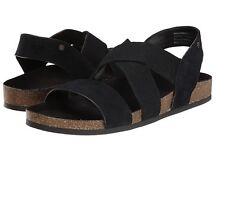 Bass Womens Harlem Suede Fabric Elastic Slingback Sandals Black Size 6.5