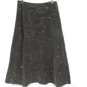 Per Una Needle Cord Skirt UK 16 Brown Midi Corduroy Embroidered Sequin Detail