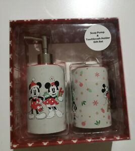 Disney Christmas Mickey Mouse Minnie Soap Pump And Toothbrush Holder Gift Set