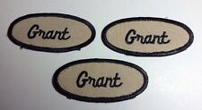 GRANT EMBROIDERED SEW ON NAME PATCH LOT OF 3 ~ NAME TAG