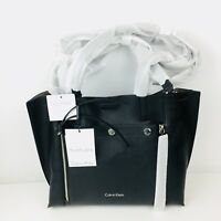 Calvin Klein Large Tote Handbag Shoulder Bag Reversible Jet Link Black Gray $168