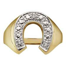 0.01CTW-DIA HORSE-SHOE MENS RING In 10KT YELLOW GOLD