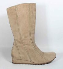 LADIES HUSH PUPPIES BROWN BEIGE SUEDE BOOTS SHOES SIZE 4 37