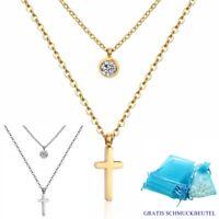 Doppel Kreuz Anhänger Rund Halskette Edelstahl Silber Gelbgold Zirkonia Damen