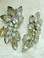 Vintage Rhinestone Clip on Earrings 2 x 1 inch Pair