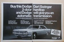 1970 two page magazine ad for Dodge - Dart Swinger with free auto transmission