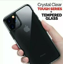 Shockproof CLEAR Silicone Case Cover For iPhone 11 with free tempered glass